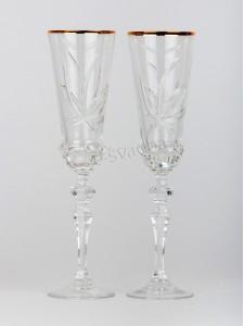 Свадебные бокалы хрустальные 190 мл, золото БК-016
