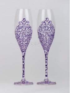 Свадебные бокалы Bohemia сиреневые БК-033