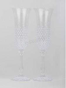 Свадебные бокалы с жемчугом белые БК-034