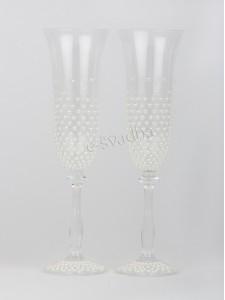 Свадебные бокалы с жемчугом молочные БК-035
