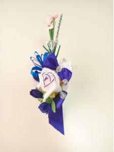 Синяя свадебная бутоньерка для жениха (свидетеля) 19