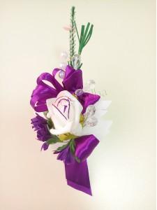 Фиолетовая бутоньерка для жениха (свидетеля) 21