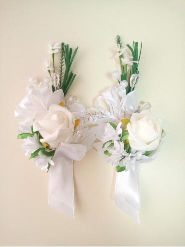 Белая свадебная бутоньерка для жениха (свидетеля) 22 купить в Киеве