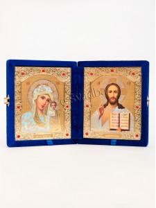 """Иконы свадебные синий бархат """"книжка"""" 001"""