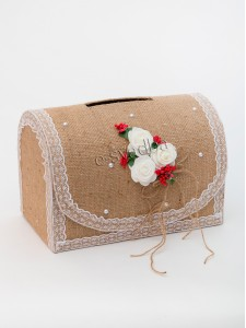 Коробка для денег «Рустик» красная 10