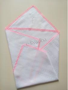 Крыжма для крещения с розовым кружевом 04