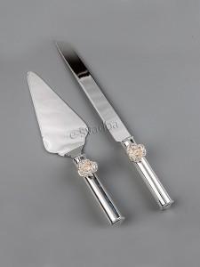 "Нож и лопатка для торта ""Розочки"" 04"