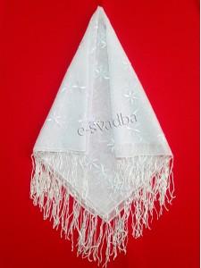Платок свадебный белый с бахромой 15