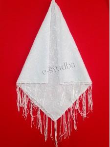 Платок свадебный белый с красивым узором