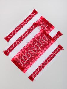 Свадебные платочки с красной вышивкой 04