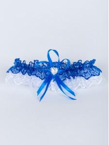 Бело-синяя свадебная подвязка 014