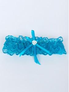 Голубая кружевная свадебная подвязка 015