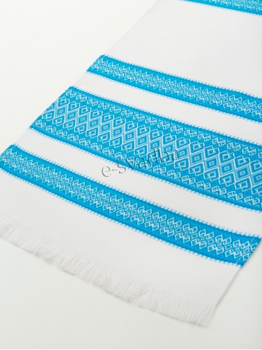 Тканый рушник с голубым узором р-022 купить в Киеве
