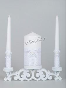 Свечи семейный очаг с белым кружевом 02св