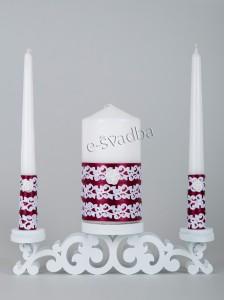 Свадебные свечи бордовые с белым кружевом 27св
