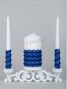 Свадебные свечи синие с кружевом и жемчугом 21св