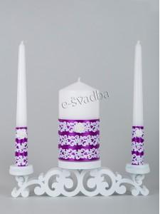 Свадебные свечи фиолетовые с белым кружевом 25св