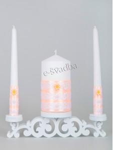 Свадебные свечи персиковые с белым кружевом 26св