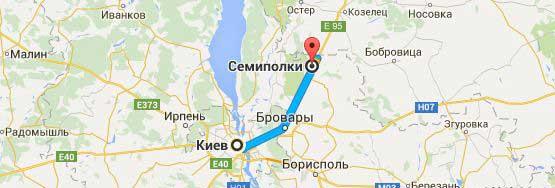 Карта: Киев - Семиполки